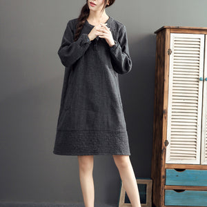 gray warm cotton linen dresses plus size casual long sleeve mid dress 2017