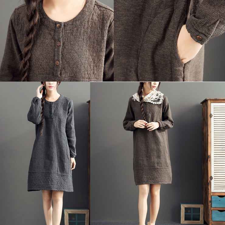 gray warm cotton linen dresses plus size casual long sleeve mid dress 2021