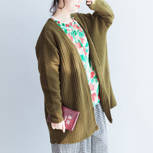 Load image into Gallery viewer, green casual striped knit blouse plus size long sleeve sweaters cardigans warm  fall 2017