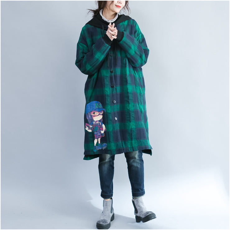 green grid cartoon prints cotton coats oversize hooded warm long sleeve long outwear
