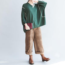 Afbeelding in Gallery-weergave laden, green patchwork color cotton knit tops oversize batwing sleeve sweater