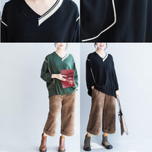 Load image into Gallery viewer, green patchwork color cotton knit tops oversize batwing sleeve sweater