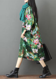 Green Prints Linen Maxi Dress Casual Traveling Dress Casual Bracelet Sleeve Gown