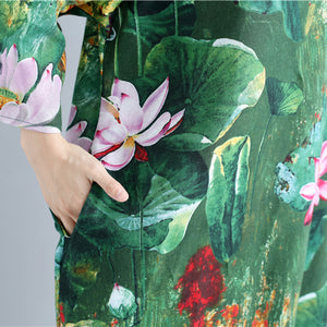 green prints linen shift dresses Loose fitting holiday 2018 wild slim long sleeve linen clothing dresses