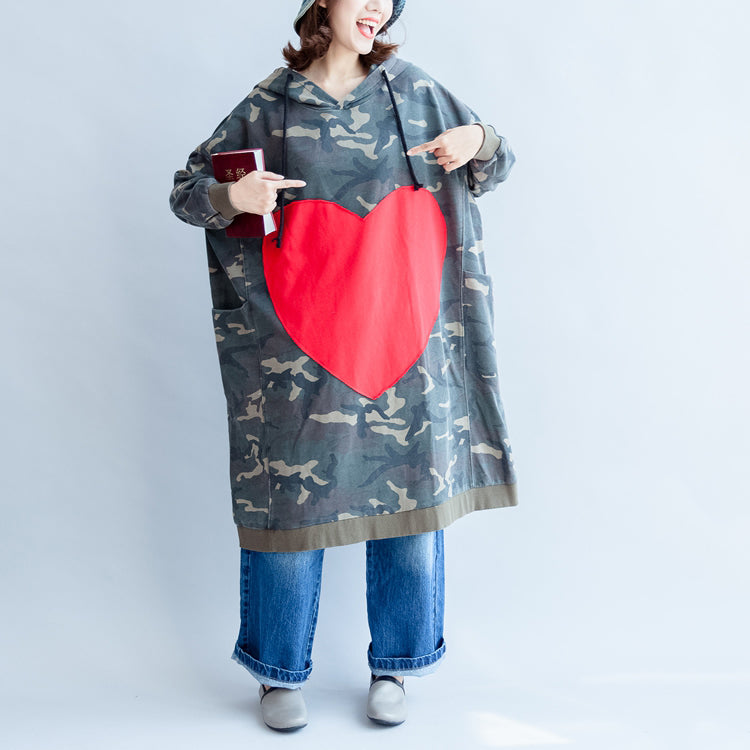 green ruffles autumn cotton dresses plus size big loving heart hooded prints mid long casual dress