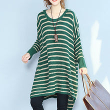 Load image into Gallery viewer, green striped autumn winter woolen blended knit dresses baggy loose batwing sleeve sweater dress