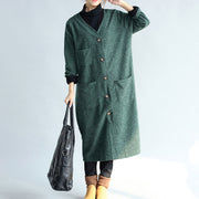 green vintage women long parka coat plus size v neck woolen trench long cardigans