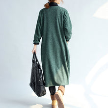 Load image into Gallery viewer, green vintage women long parka coat plus size v neck woolen trench long cardigans