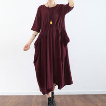 Load image into Gallery viewer, half sleeve burgundy baggy plus size dress pleated silk dresses long silk maxi dress tunic gown