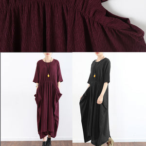 half sleeve burgundy baggy plus size dress pleated silk dresses long silk maxi dress tunic gown