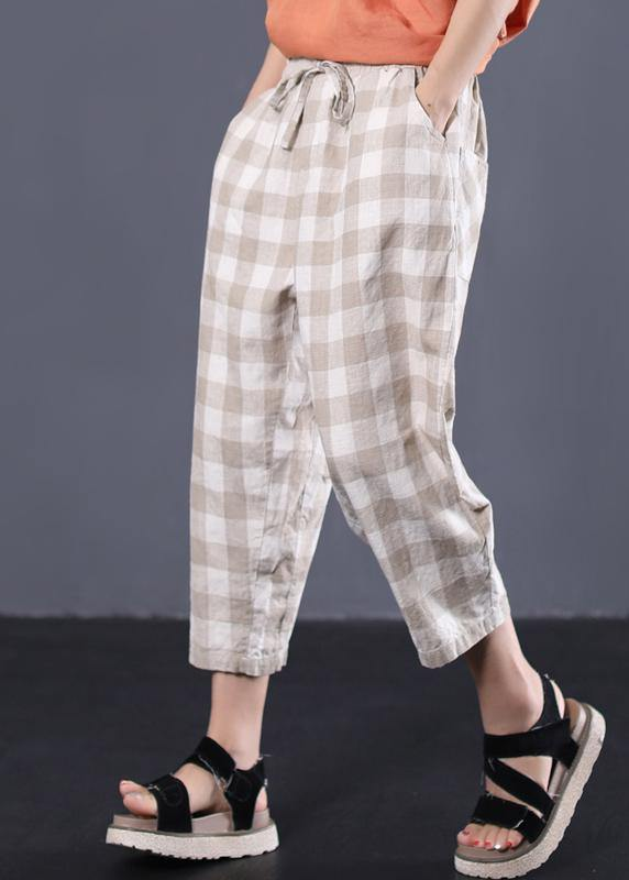 khaki plaid cotton pants plus size drawstring casual pants