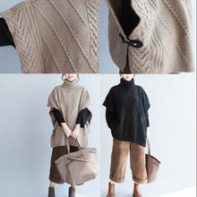 Load image into Gallery viewer, khaki unique cotton sweater high neck  plus size side open button sleeveless knit tops