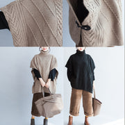 khaki unique cotton sweater high neck  plus size side open button sleeveless knit tops