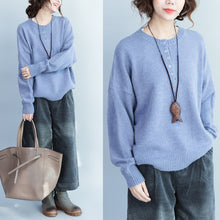 Load image into Gallery viewer, lavender thick warm woolen knit pullover neck front button loose batwing sleeve sweater