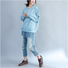Load image into Gallery viewer, light blue jacquard loose cotton jackets plus size zippered cardigans outwear