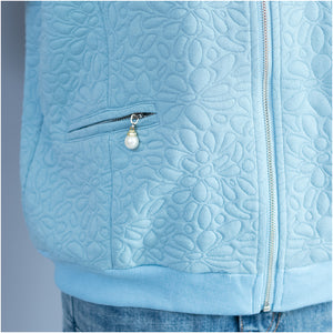 light blue jacquard loose cotton jackets plus size zippered cardigans outwear