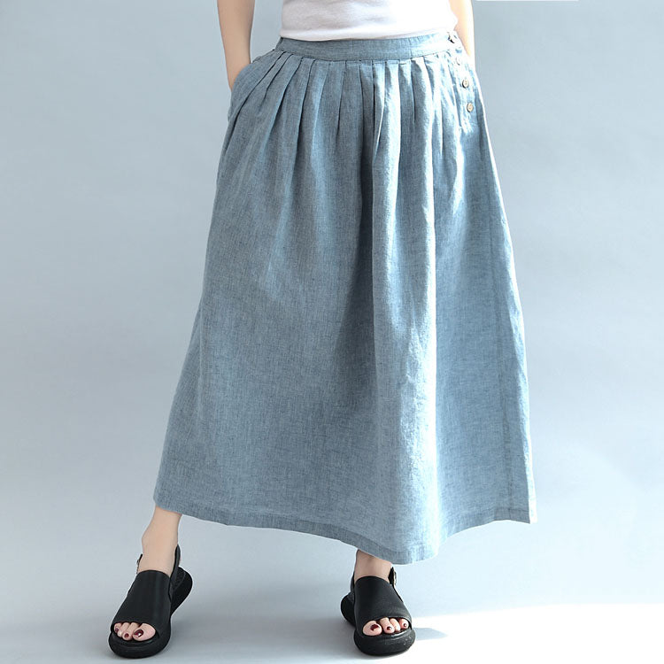 light blue summer linen skirts loose a line skirts button maxi skirts