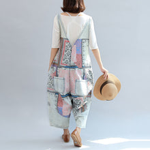 Load image into Gallery viewer, light denim casual cotton pants patchwork oversize jumpsuit pants