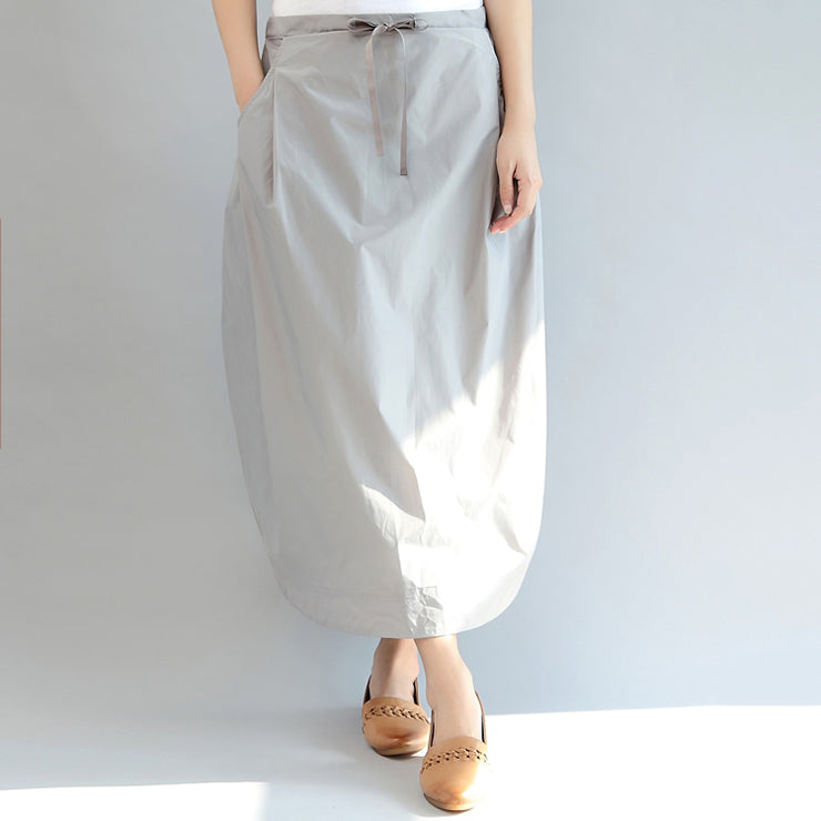 light gray casual cotton skirts plus size elastic waist maxi skirts
