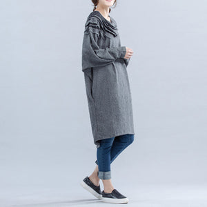 light gray unique cotton dress plus size wrinkled batwing sleeve dress