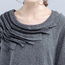 Load image into Gallery viewer, light gray unique cotton dress plus size wrinkled batwing sleeve dress