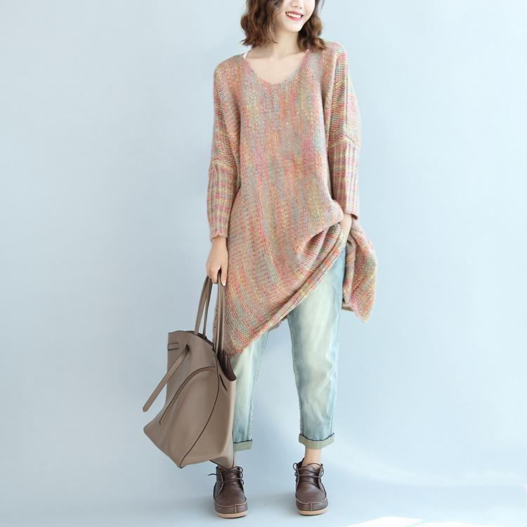 light pink multi casual sweater dresses plus size woolen warm 2017 knitted dresses