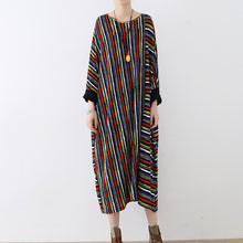 Load image into Gallery viewer, long sleeved striped caftans oversized casual cotton dresses long maxi dress
