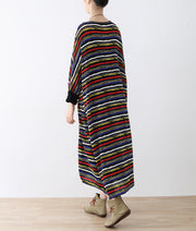 long sleeved striped caftans oversized casual cotton dresses long maxi dress