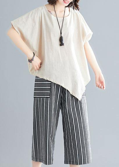 loose two pieces asymmetric white t shirts and striped pants