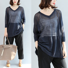 Load image into Gallery viewer, navy knitting casual tops plus size pullover v neck t shirt