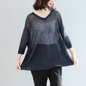 navy knitting casual tops plus size pullover v neck t shirt