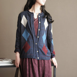 navy patchwork woolen knit cardigans casual loose long sleeve sweater outwear