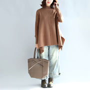 new 2021 khaki fashion knit tops plus size asymmetric large hem high neck sweaters