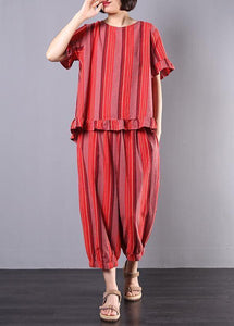 new 2019 red striped two pieces red ruffles low high design tops and elastic waist harem pants