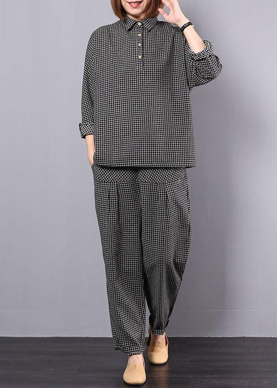 new autumn black plaid cotton lapel collar long sleeve shirt and patchwork elastic waist pants two pieces