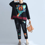 new autumn black prints cotton tops plus size casual patchwork o neck batwing pullover