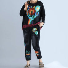 Load image into Gallery viewer, new autumn black prints cotton tops plus size casual patchwork o neck batwing pullover