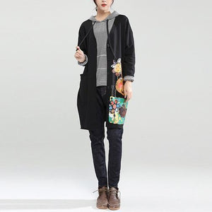 new autumn black slim fit cotton coats loose casual hooded cardigan cartoon print