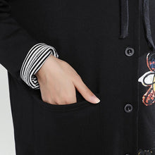 Load image into Gallery viewer, new autumn black slim fit cotton coats loose casual hooded cardigan cartoon print