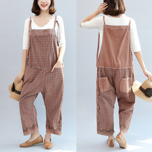 new autumn cotton patchwork prink trousers oversize jumpsuit pants