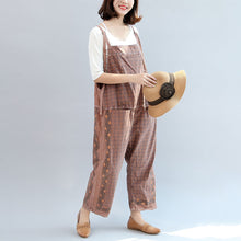 Load image into Gallery viewer, new autumn cotton patchwork prink trousers oversize jumpsuit pants