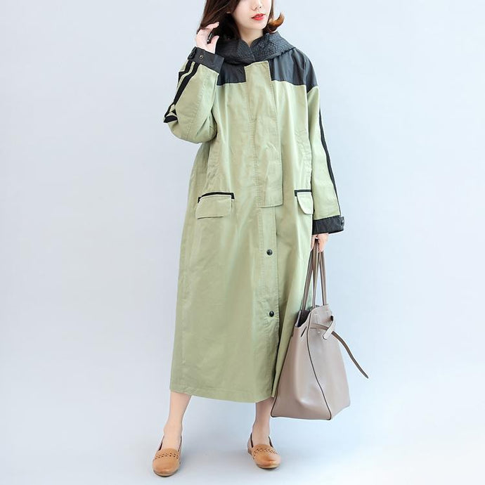 new autumn linght green patchwork cotton outwear plus size hooded maxi coat