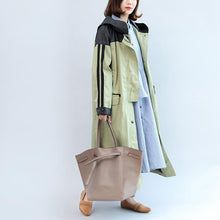 Load image into Gallery viewer, new autumn linght green patchwork cotton outwear plus size hooded maxi coat