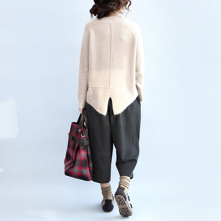 new beige casual cotton cable knit tops oversize side open fashion sweater