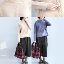 Load image into Gallery viewer, new beige casual cotton cable knit tops oversize side open fashion sweater