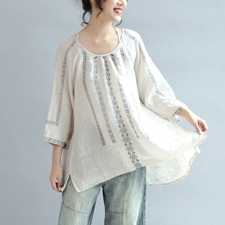 new beige striped linen tops oversize vintage blouse