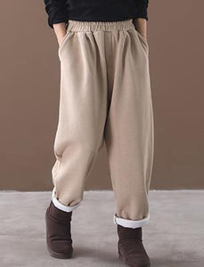 new beige winter casual trousers elastic waist thick harem pants