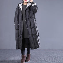 Load image into Gallery viewer, new black Outfits plus size hooded drawstring down jacket Elegant pockets down coat