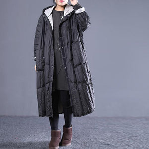 new black Outfits plus size hooded drawstring down jacket Elegant pockets down coat