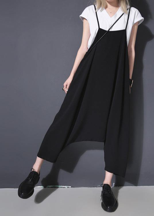 new black casual high waist cotton blended pants loose women jumpsuit pants